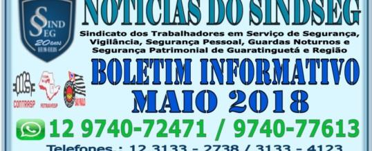 Boletim Informativo Maio 2018 – Eleições no Sindicato dias 25 e 26 / 05